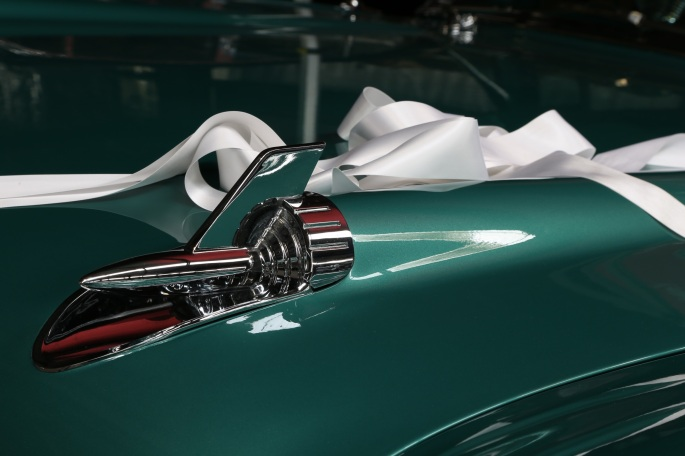 1957 Chevrolet wedding ribbons.